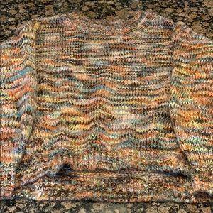LOFT Multicolor Crew Neck Pullover Sweater, S
